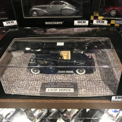 MINICHAMPS 1/43 DUESENBERG SJN (SUPERCHARGED) CONVERTIBLE COUPE 1936 DARK BLUE 437150332 WITH FLAW