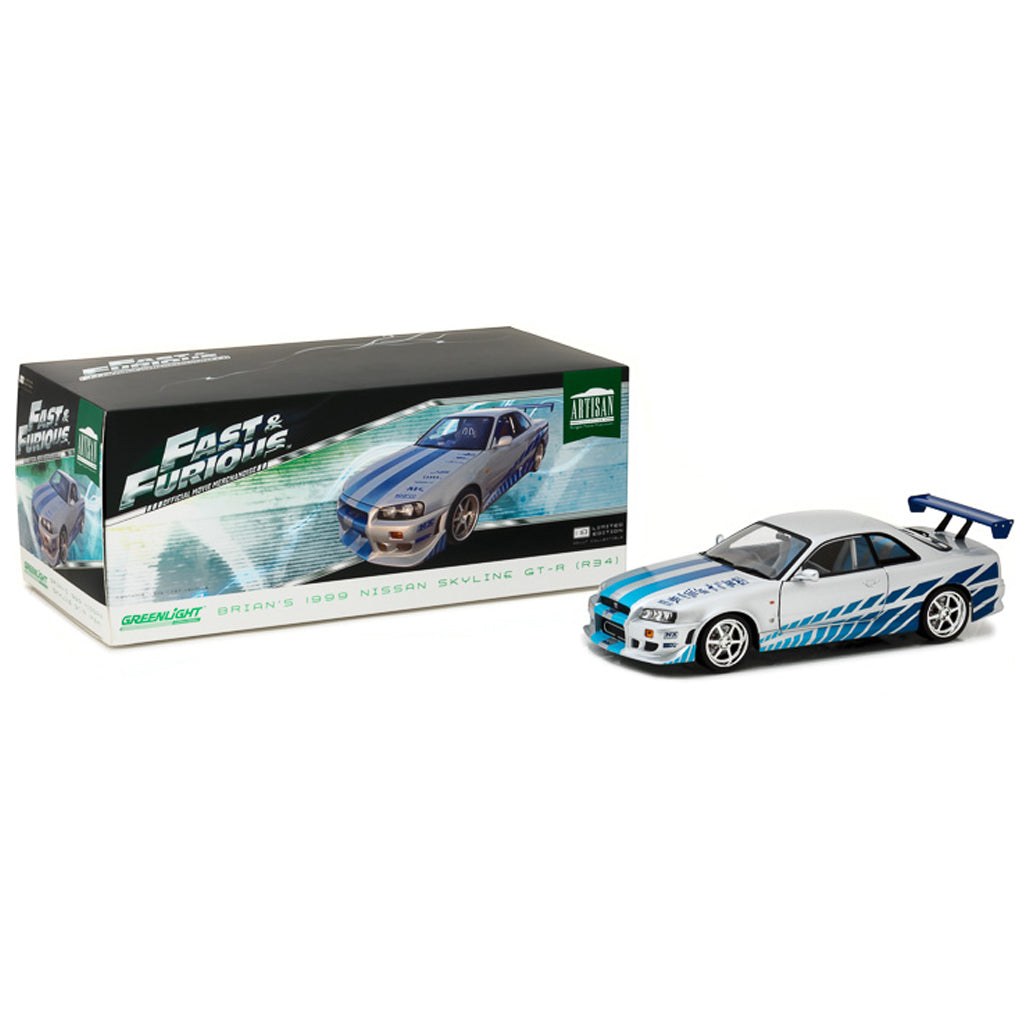 GreenLight 1/18 Artisan Collection - Fast & Furious - 2 Fast 2 Furious (2003) - 1999 Nissan Skyline GT-R (R34) 19029