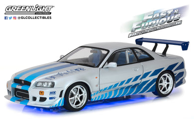 GreenLight 1/18 Artisan Collection - Fast & Furious - 2 Fast 2 Furious (2003) - 1999 Nissan Skyline GT-R (R34) Blue with LED Neon Light Underglow 19041