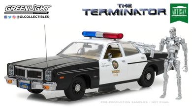 GreenLight 1/18 Artisan Collection - The Terminator (1984) - 1977 Dodge Monaco Metropolitan Police with T-800 Endoskeleton Figure 19042