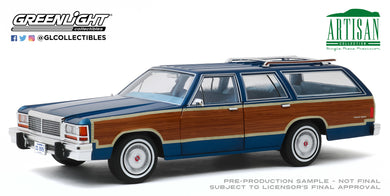 GreenLight 1:18 Artisan Collection - 1979 Ford LTD Country Squire - Midnight Blue with Wood Grain Paneling 19063