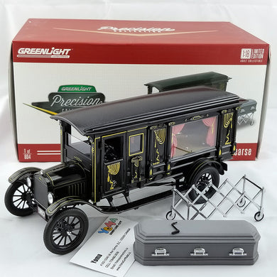 GreenLight 1/18 1921 Ford Model T Ornate Carved Hearse Black PC-18013