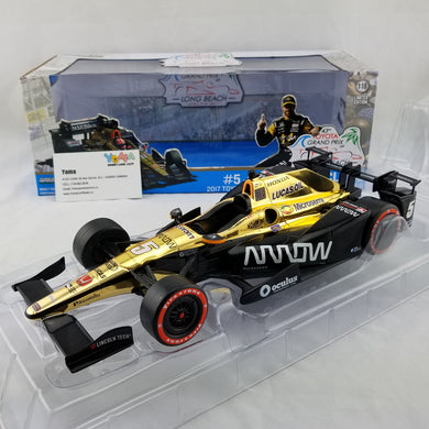 GreenLight 1/18 2017 Indycar Series #5 James Hinchcliffe / Schmidt Peterson Motorsports, Arrow 2017 Toyota Grand Prix of Long Beach Winner Diecast Model Car 11017