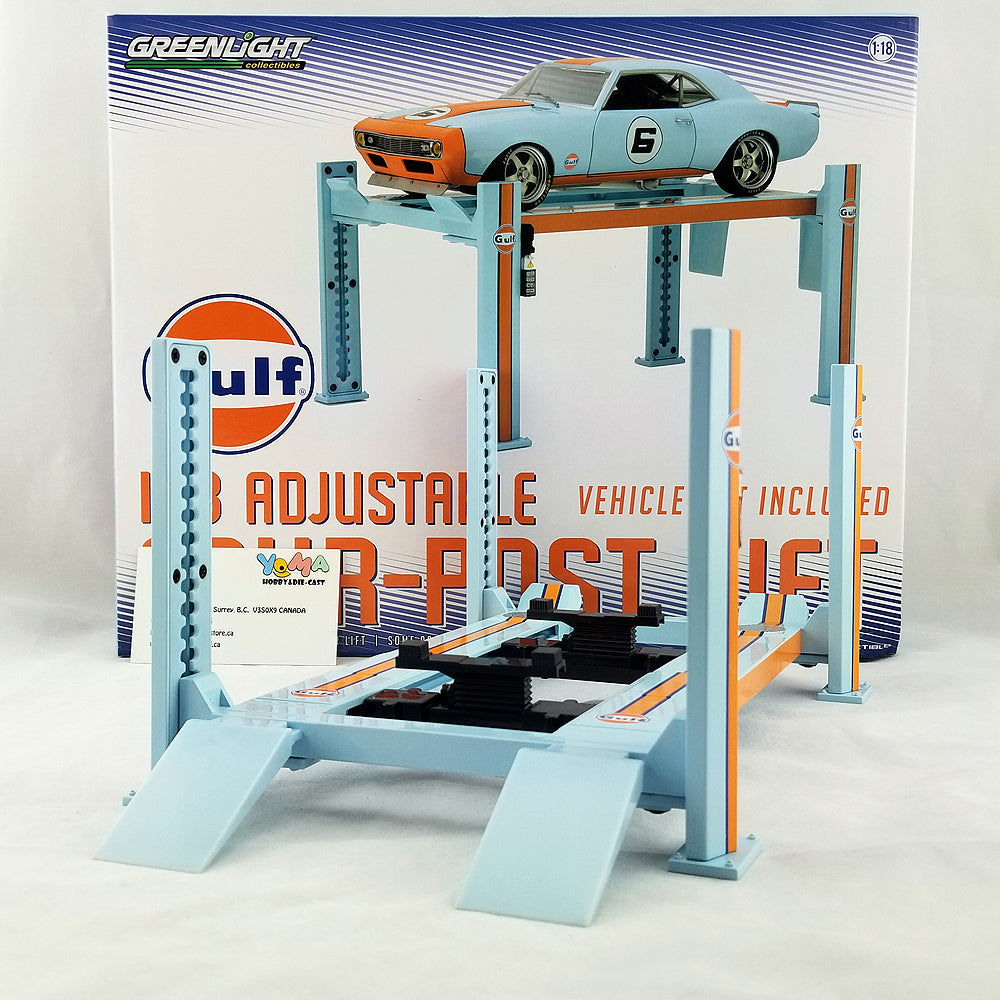 GreenLight 1/18 Four-Post Lift - Gulf Oil Diecast Model Car 13503