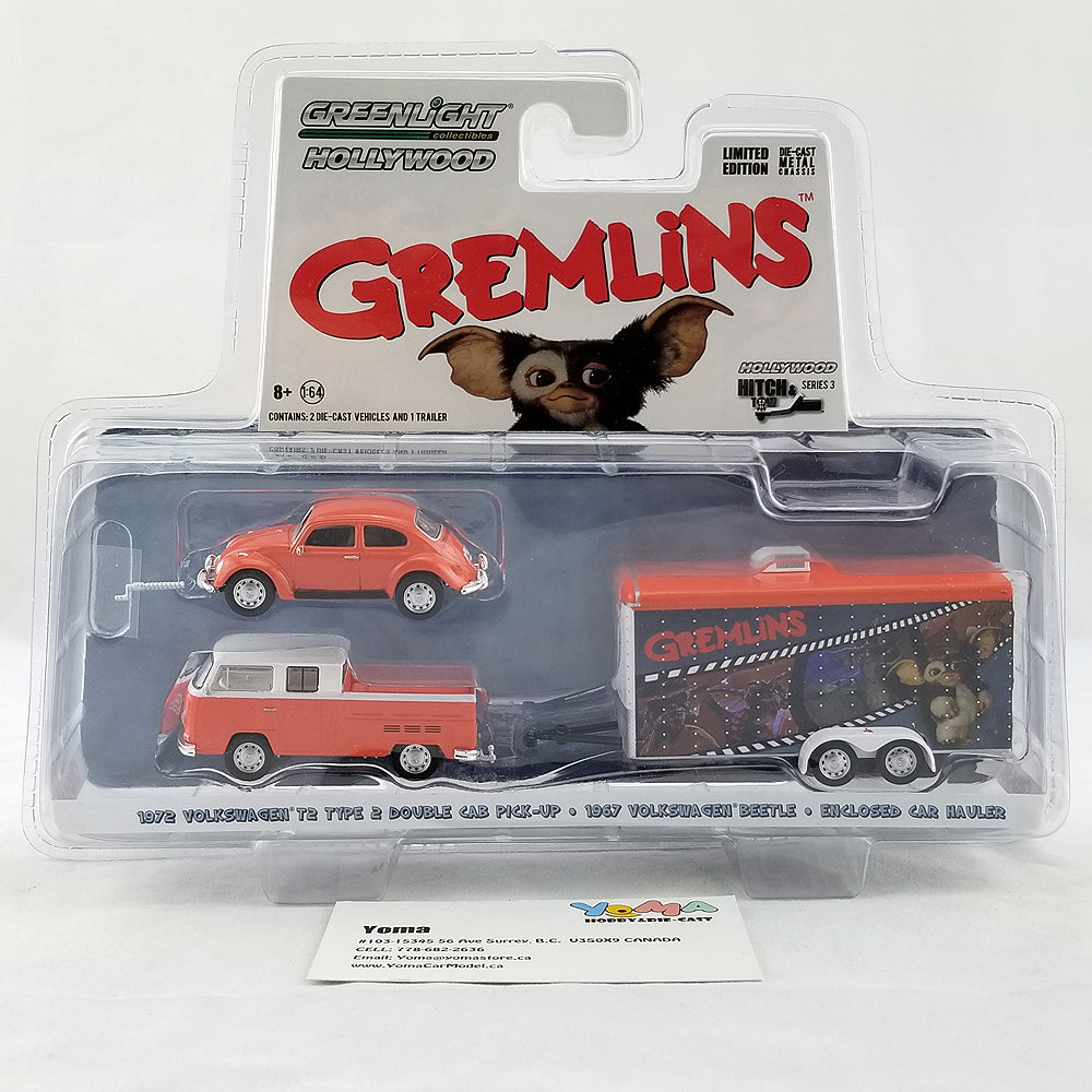 GreenLight 1/64 Hollywood Hitch & Tow Series 3 - Gremlins (1984) - 1972 Volkswagen T2 Type 2 Double Cab Pick-Up with 1967 Volkswagen Beetle in Enclosed Car Hauler Diecast Model Car 31030-A