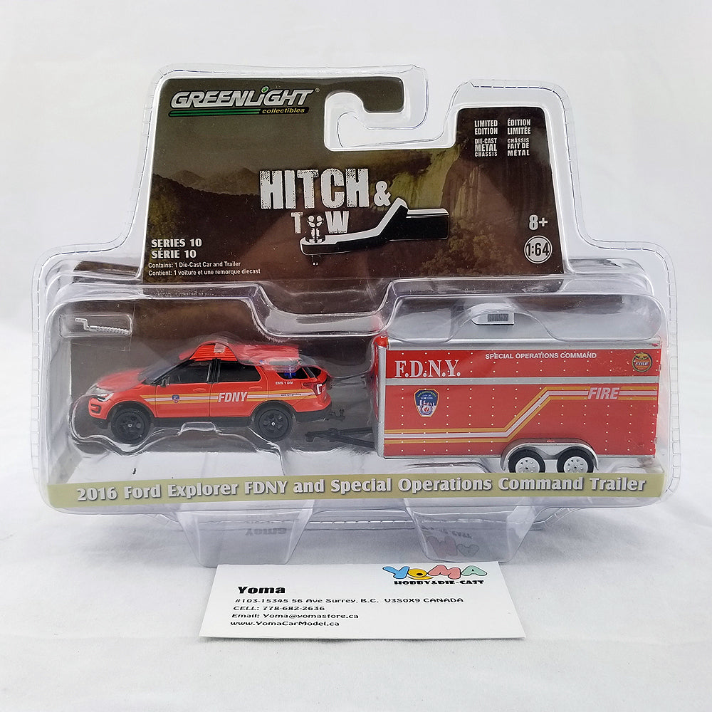 GreenLight 1/64 Hitch & Tow Series 10 - 2016 Ford Explorer Official Fire Department City of New York (FDNY) with FDNY Special Operations Command Trailer Diecast Model Car 32100-D