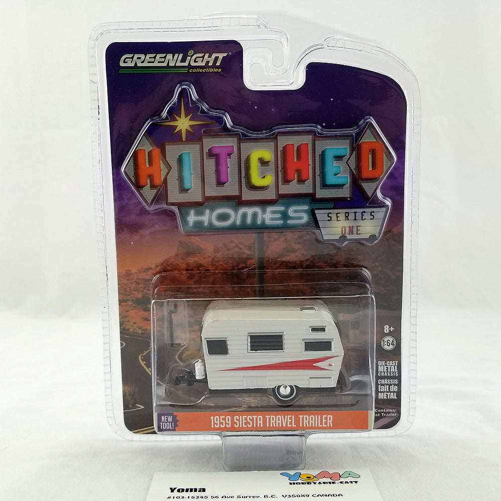 GreenLight 1/64 Hitched Homes Series 1 - 1959 Siesta Travel Trailer - Silver and Red Diecast Model Car 34010-B