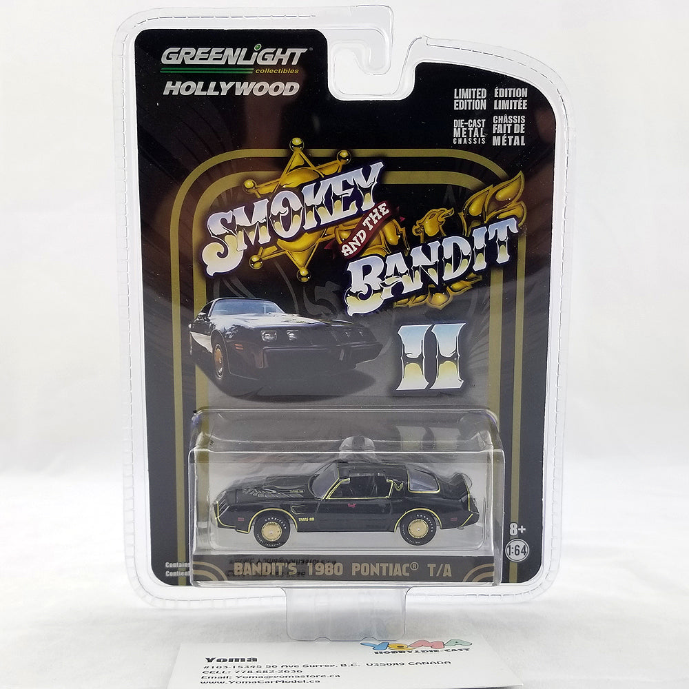 GreenLight 1/64 Hollywood Greatest Hits Smokey and the Bandit II 1980 Pontiac Trans Am Diecast Model Car 44710-B
