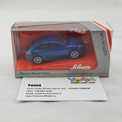 Schuco 1/64 Porsche Macan Turbo blue metallic Diecast Model Car 452013700