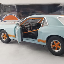 GreenLight 1/18 1967 Ford Mustang Coupe Gulf Oil - Light Blue with Orange Stripes Diecast Model Car 12989