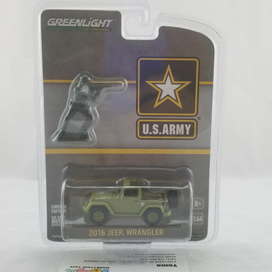 GreenLight 1/64 2016 Jeep Wrangler - U.S. Army with U.S. Army Soldier Figure Diecast Model Car 29884