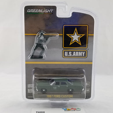 GreenLight 1/64 1967 Ford Custom - U.S. Army with U.S. Army Soldier Figure Diecast Model Car 29883