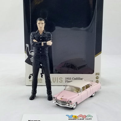 GreenLight 1/18 Elvis figure 1/64 Hollywood - Elvis Presley (1935-77) - 1955 Cadillac Fleetwood Series 60 Pink Cadillac Diecast Model Car 29898