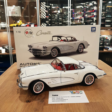 AUTOART 1/18 CHEVROLET CORVETTE 1958 SNOWCREST WHITE 71147