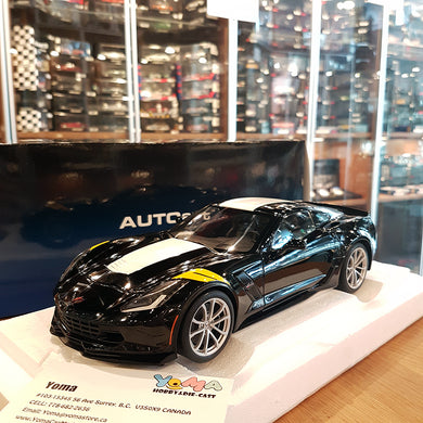 AUTOART 1/18 CHEVROLET CORVETTE GRAND SPORT BLACK/WHITE STRIPES 71273