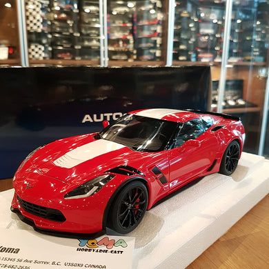 AUTOART 1/18 CHEVROLET CORVETTE GRAND SPORT RED/WHITE STRIPES 71274