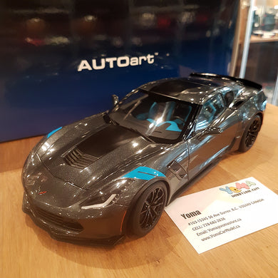 AUTOART 1/18 CHEVROLET CORVETTE GRAND SPORT WATKINS GLEN GREY METALLIC/BLACK STRIPES 71272