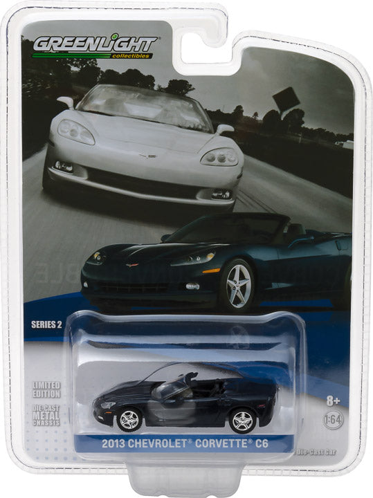 GreenLight 1/64 General Motors Collection Series 2 - 2013 Chevrolet Corvette Convertible - Night Race Blue Diecast Model Car 27875-B