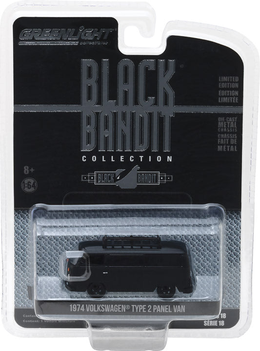GreenLight 1/64 Black Bandit Series 18 - 1974 Volkswagen Type 2 Panel Van 27930-B