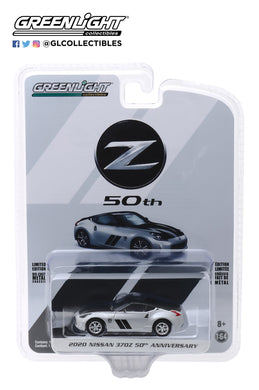 GreenLight 1:64 Anniversary Collection Series 10 - 2020 Nissan 370Z Coupe 50th Anniversary - Silver and Black 28020-F
