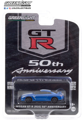 GreenLight 1:64 Anniversary Collection Series 11 - 2016 Nissan GT-R (R35) - Bayside Blue with White Stripe - GT-R 50th Anniversary 28040-D