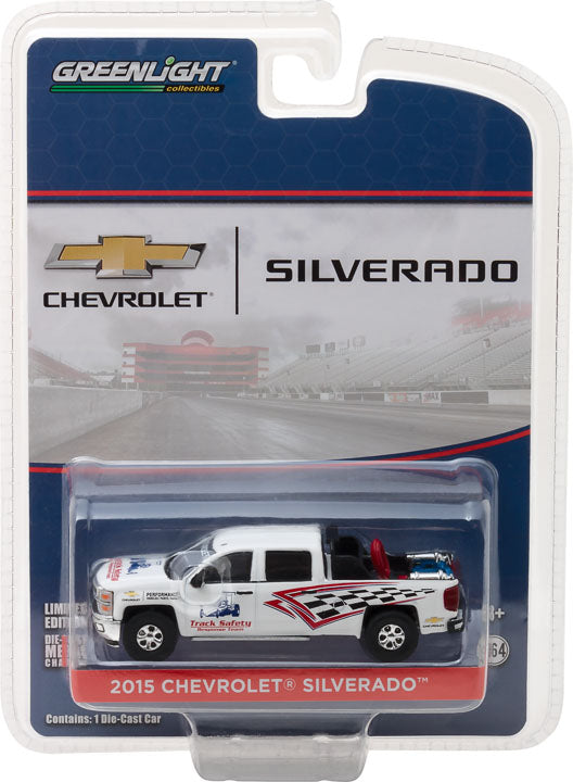 GreenLight 1/64 2015 Chevrolet Silverado Track Safety Response Team with Safety Equipment in Truck Bed Diecast Model Car 29874