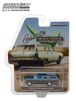 GreenLight 1/64 Estate Wagons Series 1 - 1979 Ford LTD Country Squire - Midnight Blue 29910-E