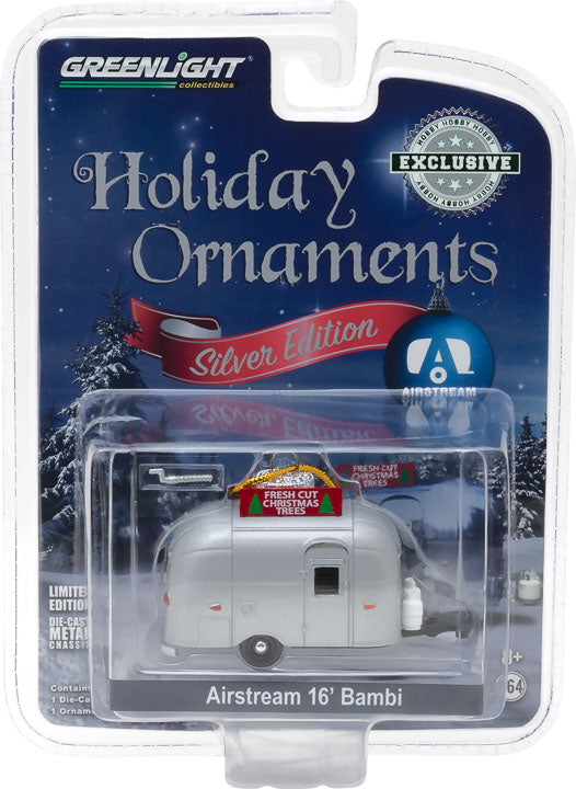 GreenLight 1/64 Airstream 16 feet Bambi Holiday Ornament with Hook Ring Fresh Cut Christmas Trees Silver 29915