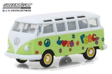 GreenLight 1/64 Club Vee-Dub Series 7 - 1964 Volkswagen Samba Bus - Hippie Peace & Love 29920-C