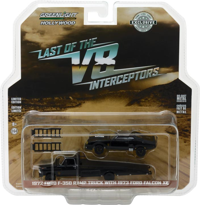 GreenLight 1/64 1972 Ford F-350 Ramp Truck with Last of the V8 Interceptors (1979) 1973 Ford Falcon XB 29925