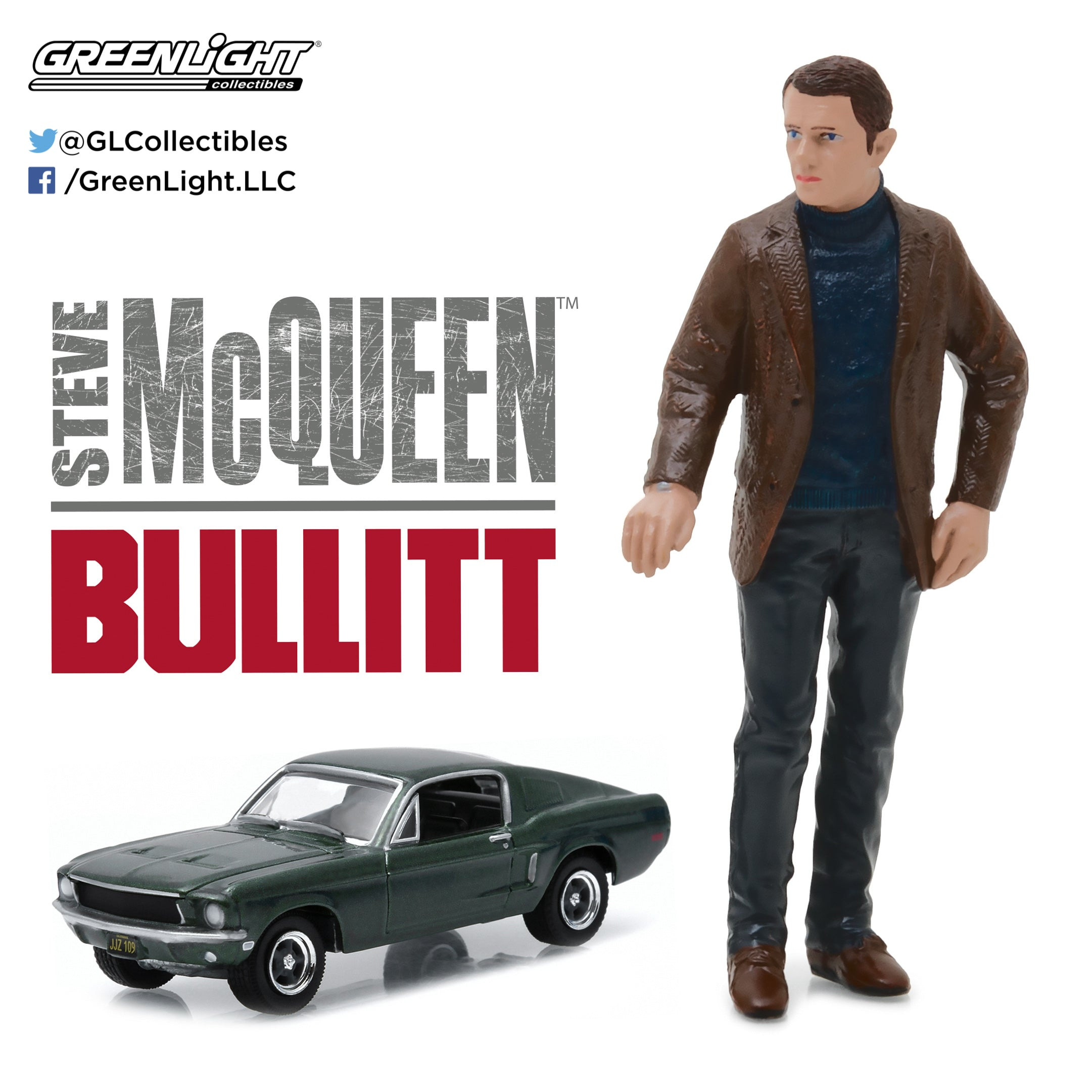 GreenLight 1/64 Hollywood - Bullitt (1968) - 1968 Ford Mustang GT Fastback with 1:18 Steve McQueen figure 29931