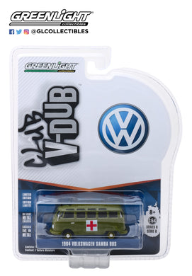 GreenLight 1/64 Club Vee-Dub Series 8 - 1964 Volkswagen Samba Bus Army Ambulance 29940-A