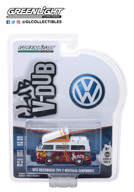 GreenLight 1/64 Club Vee-Dub Series 8 - 1973 Volkswagen Type 2 Westfalia Campmobile - Hippie Van 29940-C