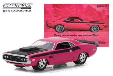GreenLight 1/64 BFGoodrich Vintage Ad Cars - 1970 Dodge Challenger T/A The Only Name Tattooed On More Muscles is Mom 29943