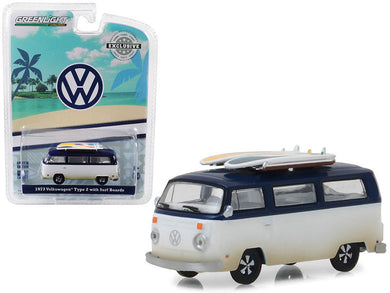 GreenLight 1/64 1973 Volkswagen Type 2 (T2B) Van‏ with Surf Boards 29956