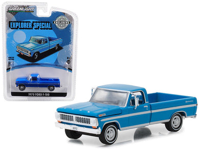 GreenLight 1/64 1970 Ford F-100 Explorer Special (Long Bed) - Grabber Blue 29967