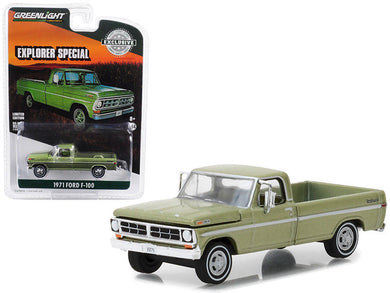 GreenLight 1/64 1971 Ford F-100 Explorer Special (Long Bed) - Lime Gold Metallic 29968