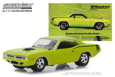 GreenLight 1/64 BFGoodrich Vintage Ad Cars - 1970 Plymouth HEMI Cuda Amazing What You Can Do With A Tire Iron 29977
