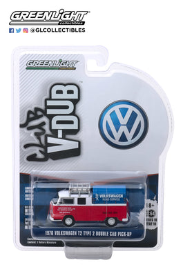 GreenLight 1:64 Club Vee-Dub Series 10 - 1976 Volkswagen T2 Type 2 Double Cab Pick-Up with Canopy - Volkswagen Road Service 29980-E