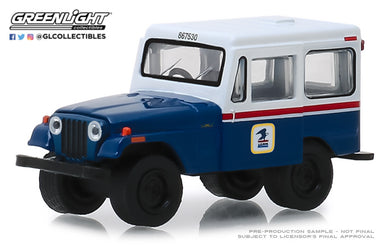 GreenLight 1/64 1971 Jeep DJ-5 United States Postal Service (USPS) - Blue with White Roof 29998