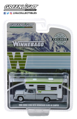 GreenLight 1/64 1966 Dodge D-100 with Winnebago Slide-In Camper 30022