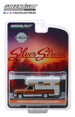 GreenLight 1/64 1970 Chevrolet C-10 Cheyenne with Silver Streak Camper 30023