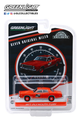 GreenLight 1:64 1977 Plymouth Fury - Binghamton, New York City Taxi - 7 Original Miles on Odometer 30057