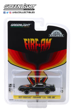 GreenLight 1:64 1977 Pontiac Firebird Fire Am by Very Special Equipment (VSE) - Black with Hood Bird 30059