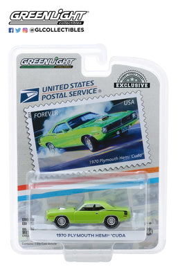 GreenLight 1:64 1970 Plymouth HEMI Cuda - United States Postal Service (USPS) America on the Move: Muscle Cars 30069