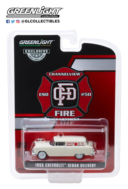 GreenLight 1:64 1955 Chevrolet Sedan Delivery - Channelview, Texas Fire Department Volunteer Emergency Car 30071