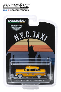 GreenLight 1:64 1981 Checker Motors Marathon A11 N.Y.C. Taxi 30076