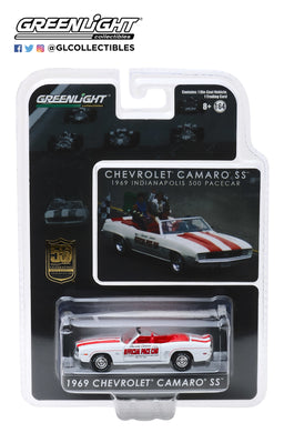 GreenLight 1/64 Mario Andretti 50th Anniversary Indianapolis 500 Victory - 1969 Chevrolet Camaro Convertible Pace Car 30082