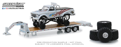 GreenLight 1:64 USA-1 - 1970 Chevrolet K-10 Monster Truck on Gooseneck Trailer with Regular and Replacement 66 Tires 30101