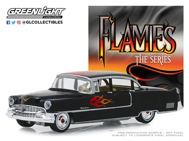 GreenLight 1:64 Flames The Series - 1955 Cadillac Fleetwood Series 60 Special - Black with Flames 30105